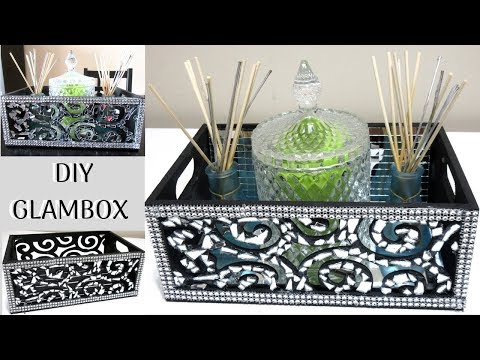 DOLLAR STORE DIY BLING MOSAIC MIRROR BOX , DIY HOME DECOR