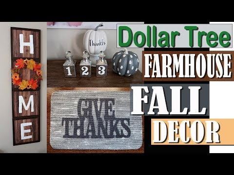 DOLLAR TREE FARMHOUSE FALL DECOR 2018 –  DOLLAR TREE DIY PROJECT