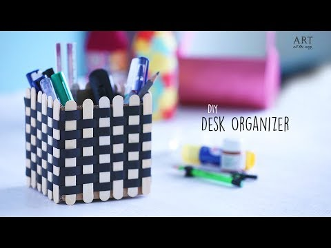 DIY Popsicle Sticks Desk Organizer | Home Decor