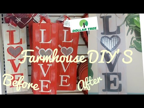 Dollar Tree DIY Farmhouse Valentine's Decor Ideas/Revamp