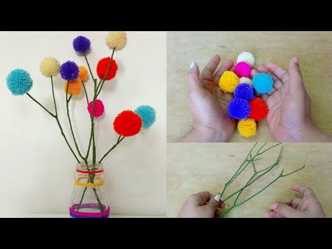 Pompom craft idea /how to make pompoms /diy home decor