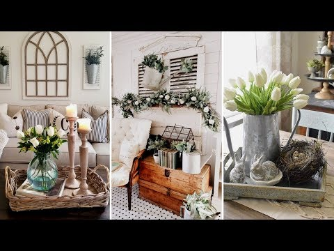 ❤DIY Farmhouse style Spring living room decor Ideas❤ | Easter home decor| Flamingo Mango