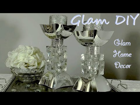 Dollar Tree DIY Glam Bling Faux Mirror Candleholders Glam Home Decor