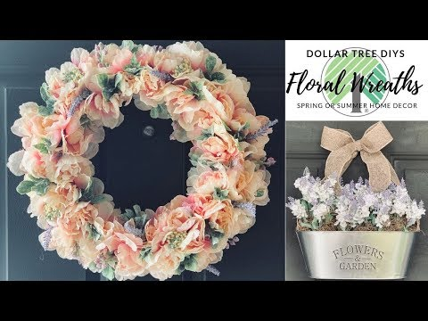 Dollar Tree DIY Farmhouse Floral Wreaths|Spring or Summer Home Decor|Measure & Mix