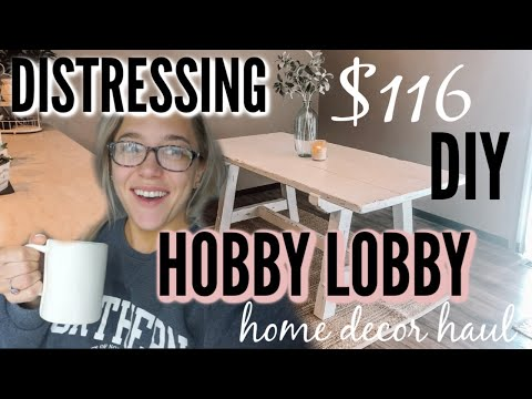 DISTRESSING MY DIY FARMHOUSE TABLE + INEXPENSIVE HOME DECOR HAUL!
