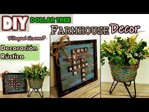 Dollar Tree DIY | Farmhouse Home Decor | English CC | Decoración Rústica