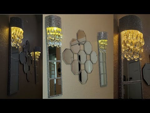Dollar Tree DIY Glam Mirrored Wall Lamps| Quick and Easy Dollar Tree DIY Mirrored Home Decor