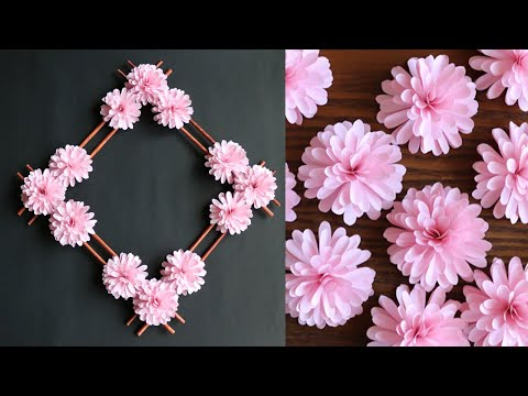Paper Flower Wall Decor – Easy Wall Decoration Ideas – Paper craft – DIY Wall Decor