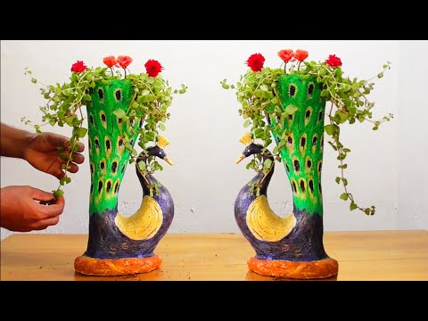 DIY Peacock Pot Making/Using Cement for Home Decor/Cement Pot Ideas