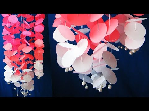 DIY. Wind Chime. Newspaper Craft. DIY Simple Home Decor. Hanging Flowers. Handmade Decoration