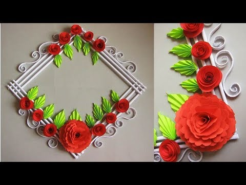 DIY. Simple Home Decor. Wall, Door Decoration. Цветы из бумаги. Paper Craft Ideas #