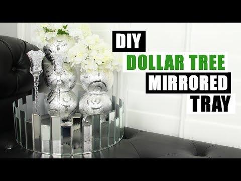 DOLLAR TREE DIY GLAM MIRROR DECOR TRAY   Home Decor Idea