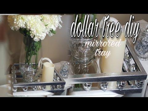 DOLLAR TREE DIY HOME DECOR GLAM MIRRORED TRAY | DIY CREATOR