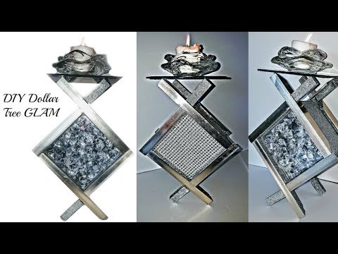 2 DIYs  💎 DIY Glam Candle Holders -Dollar Tree Materials 💎 Mirrored Decor – Table Decor & Room