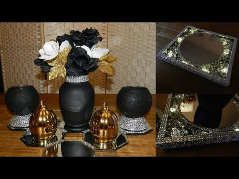 Dollar Tree Glam Bling Centerpiece| DIY Elegant Candle Holdersl Holiday Home Decor Ideas 2018