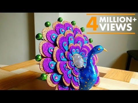 DIY – How To Make Peacock| Best Out Of Waste | Home Decor | Show piece | By Punekar Sneha.