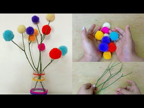 Pompom craft idea /how to make pompoms /diy home decor