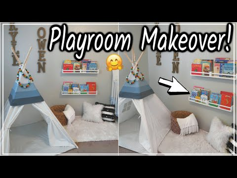 DIY PLAYROOM MAKEOVER! | REDECORATING & NEW HOME DECOR | IKEA SPICE RACK BOOKSHELF HACK