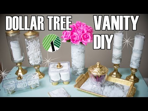 DOLLAR TREE DIY BATHROOM DECOR ⭐ MARBLE BATHROOM VANITY