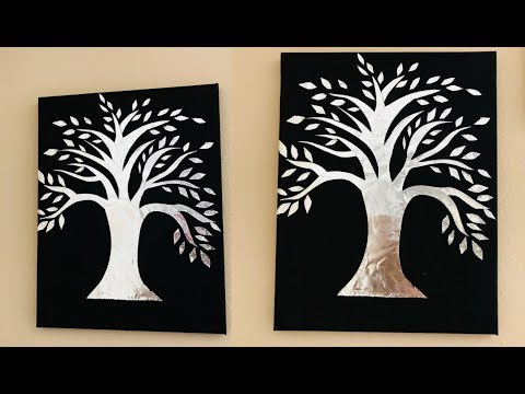 Aluminum Foil Wall Decor / Silver Tree / Beautiful Wall decor / Easy DIY Home Decor / BirthDay Gift