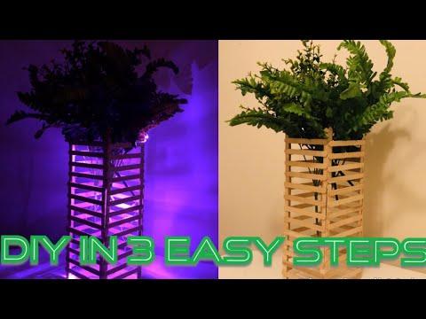 Popsicle Stick Crafts   FLOWER VASE   DIY Home decor