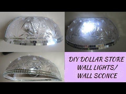 DIY DOLLAR STORE WALL GLAM SCONCES, DIY DOLLARTREE  BLING WALL LIGHT DECOR, DIY HOME DECOR IDEAS