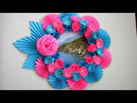 DIY. Simple Home Decor. Wall Decoration, photo frame. Hanging Flower. Paper Craft Ideas #779