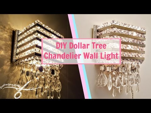 DIY Dollar Tree Chandelier Wall Light | Wall Sconce | DIY Wall Decor | Wall Lamp | Light Fixture |