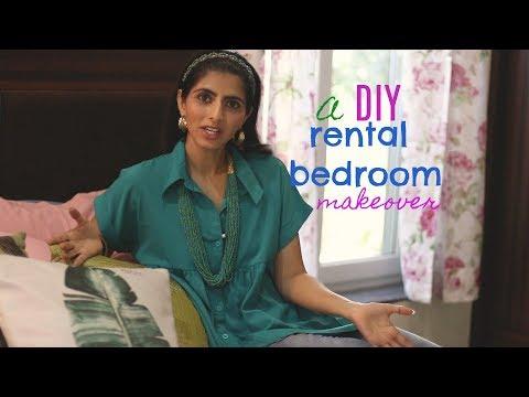 DIY Rental Bedroom Makeover : 5 DIY Home Decor Ideas : Indian Bedroom Makeover