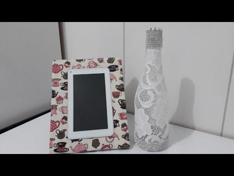 Diy garrafa decorada com renda sem cola #diy #homedecor #decoracao