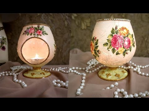 DIY|CANDLE  LIGHT WINE GLASS ,DIY home decor