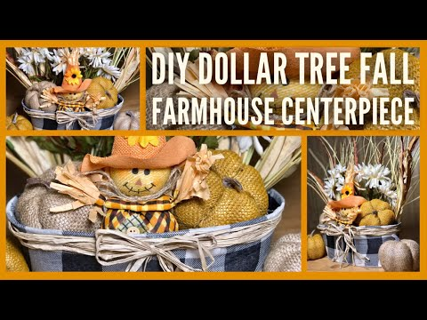 Dollar Tree DIY Fall Farmhouse Centerpiece – Farmhouse Home Decor – Simply Cheap And Easy DIYs