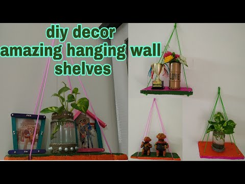 DIY! home decor diy💐!!reuse of cardboards!!😍best out of waste!!how to make wall shelves!!😍