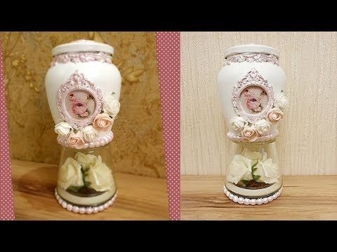 DIY Shabby Chic style glass Jar decor ❤ | Home decor & Interior design