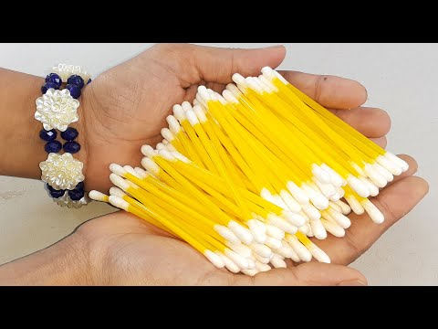 WALL DECORATION IDEA WITH COTTON BUDS & WASTE CARDBOARAD   AMAZING HOME DECORATING