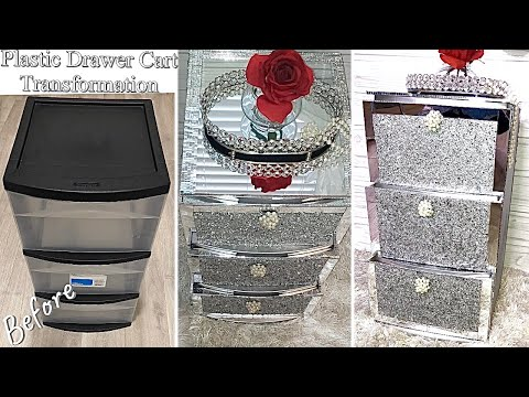 DIY GLAM NIGHTSTAND FROM PLASTIC CART! HOME IMPROVEMENT DIY| HOME DECORATING IDEAS