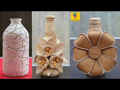 Glass Bottle Decoration Idea with Jute | Handmade Home Decorating Ideas