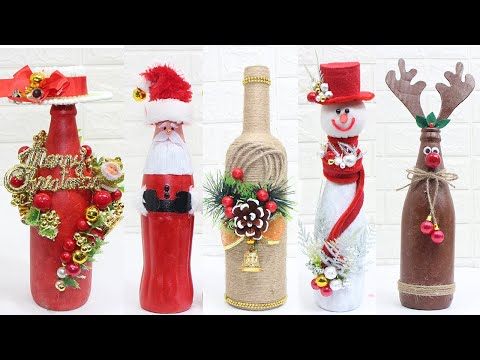11 Christmas bottle decoration ideas | Home decorating ideas easy