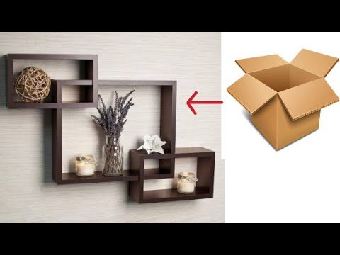 how to make cardboard wall shelve// cardboard wall decor || home wall decorating ideas || cardboard