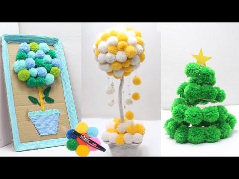 5 Home decorating ideas handmade easy with pom pom | Woolen crafts ideas