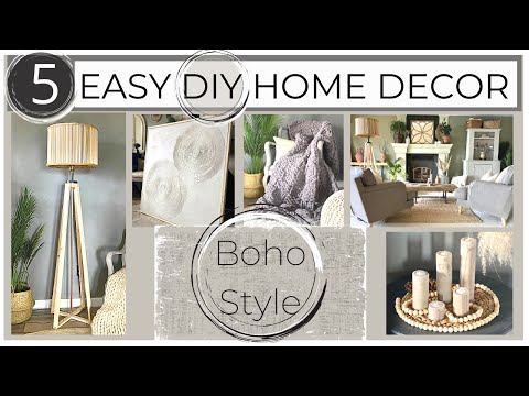 5 Home Decor  DIY: Wood floor lamp, Hand Chunky Knit Blanket, Wood Candle Holder, Textured Wall Art
