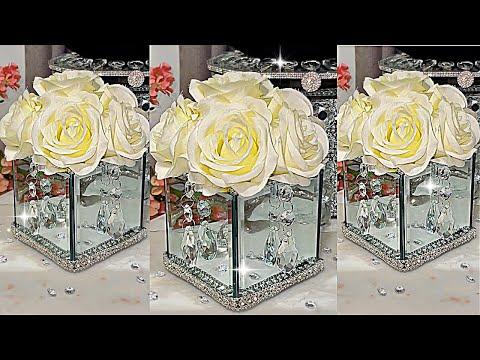 DIY ROOM DECOR DIY CRYSTAL MIRROR FLOWER VASE HOME DECORATING IDEAS DIY